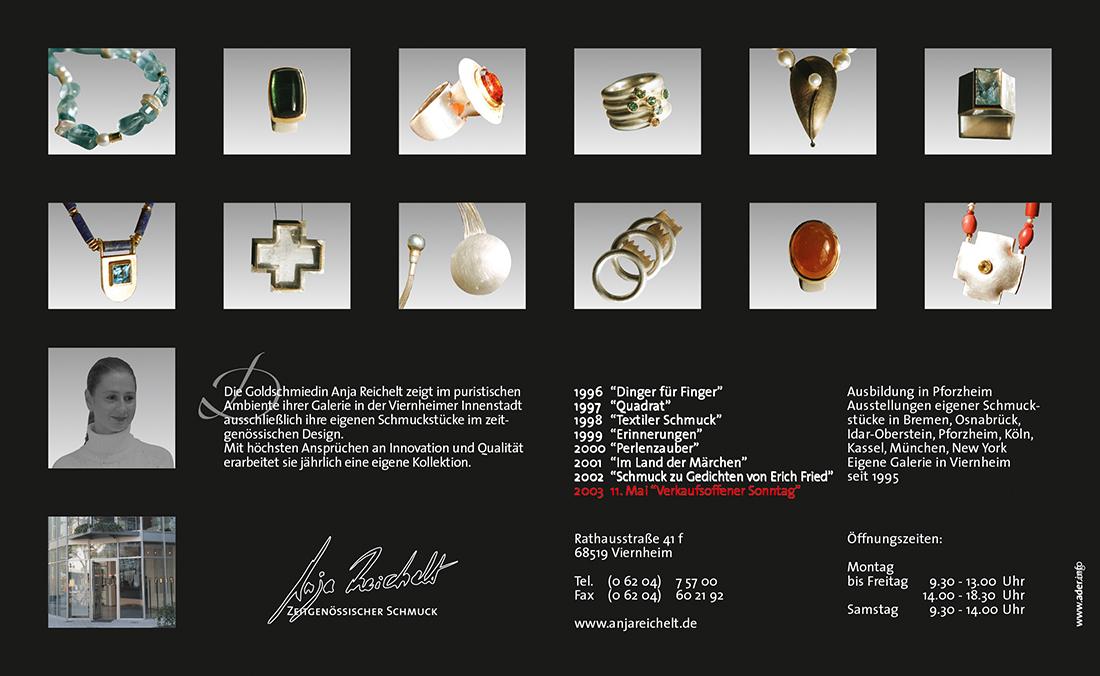Anja Reichelt – Zeitgenössischer Schmuck Anzeige 228 x 140 mm