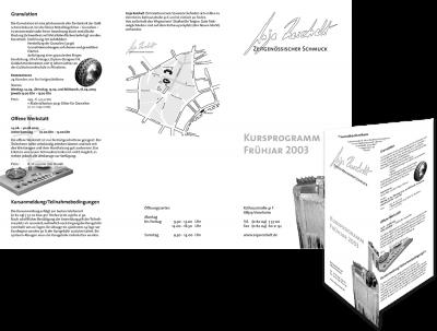 Anja Reichelt – Zeitgenössischer Schmuck Kursprogramm 2003; Außenseiten des 6-seitigen Flyers