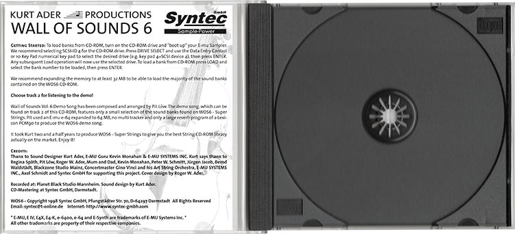 Syntec GmbH Wall Of Sounds 6 offene CD-Hülle mit Booklet-Rückseite und CD-Tray