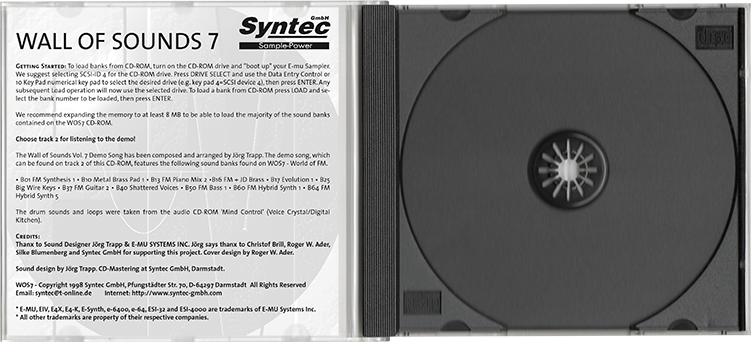 Syntec GmbH Wall Of Sounds 7 offene CD-Hülle mit Booklet-Rückseite und CD-Tray