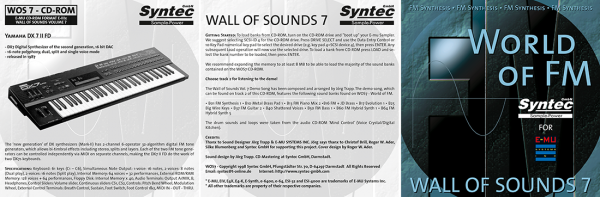 "Syntec GmbH Wall Of Sounds 7 ""World Of FM"" Booklet 1"