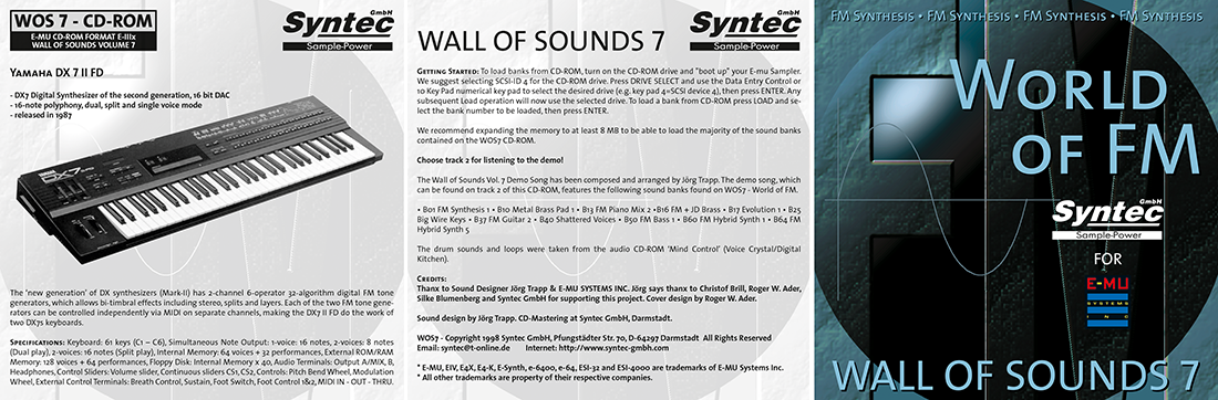 """Syntec GmbH Wall Of Sounds 7 """"World Of FM"""" Booklet 1"""