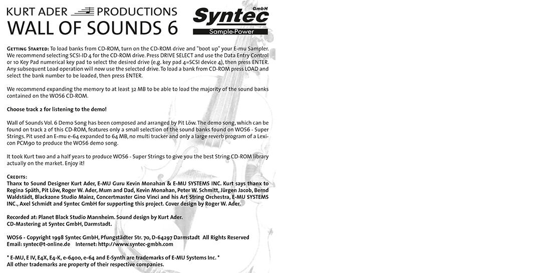 """Syntec GmbH Wall Of Sounds 6 """"Super Strings"""" Booklet Seite 8"""