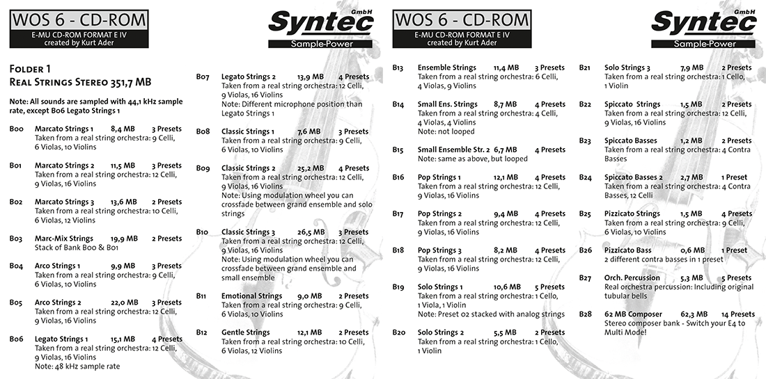 """Syntec GmbH Wall Of Sounds 6 """"Super Strings"""" Booklet Seiten 2 und 3"""