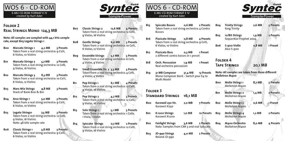 """Syntec GmbH Wall Of Sounds 6 """"Super Strings"""" Booklet Seiten 4 und 5"""