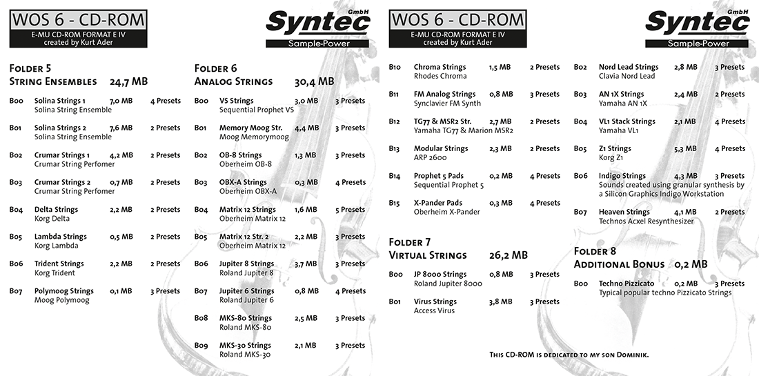 """Syntec GmbH Wall Of Sounds 6 """"Super Strings"""" Booklet Seiten 6 und 7"""
