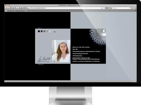 Website von Anja Reichelt Zeitgenössischer Schmuck auf iMac