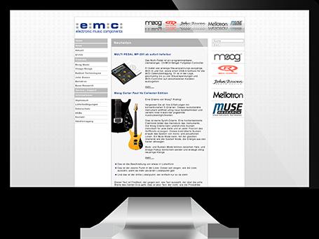 Website-Layout von emc auf iMac